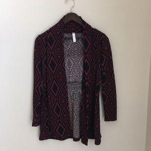 Geo pattern cardigan sweater